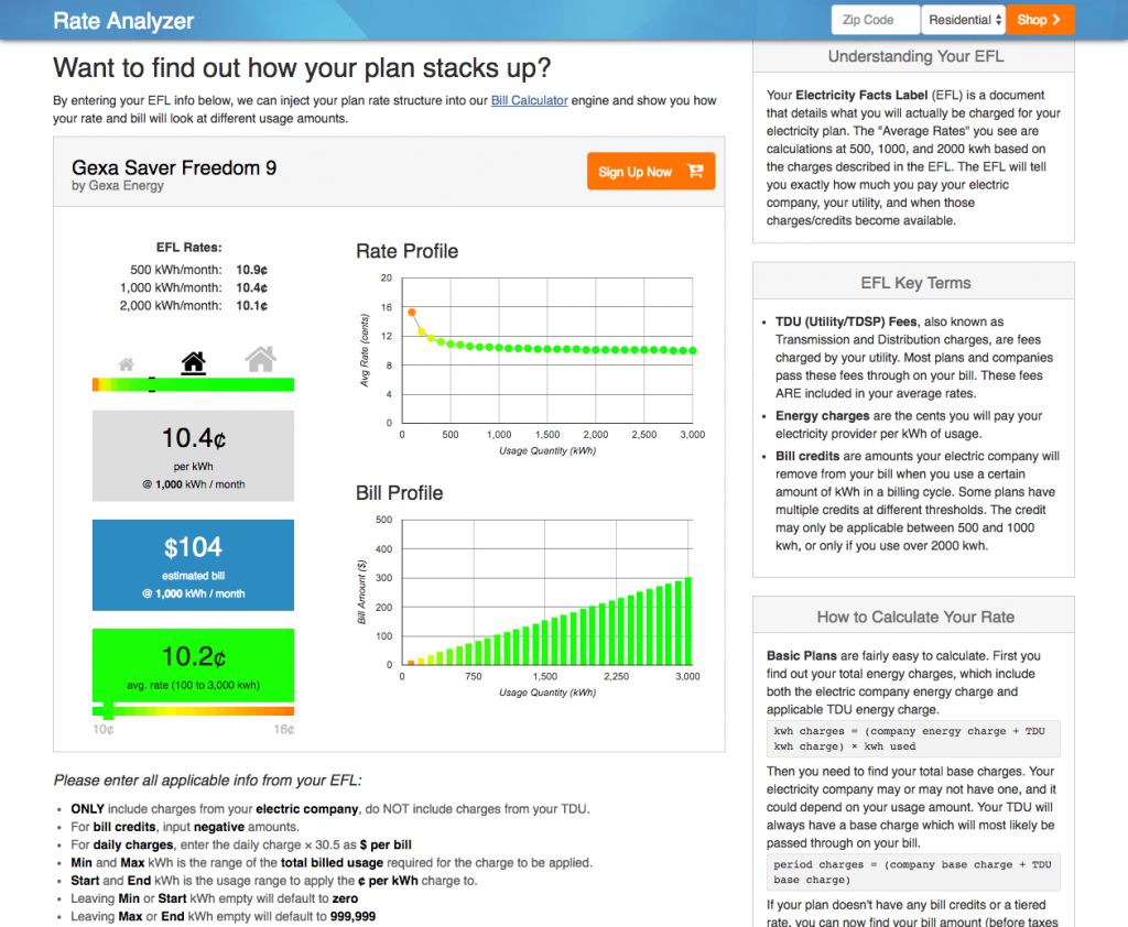 Texas Electricity Rate Analyzer